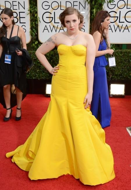 Lena Lunham vestido Zac Posen Globos de Oro 2014