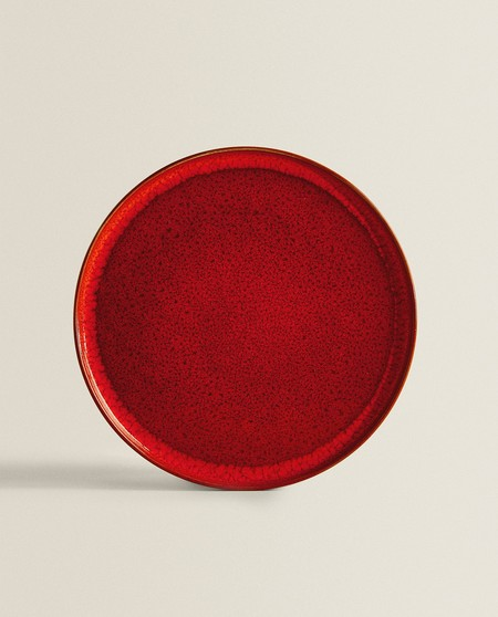 Plato llano gres rojo Zara Home