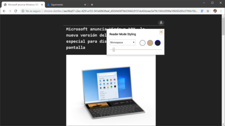 Modo Lectura Chrome Oscuro