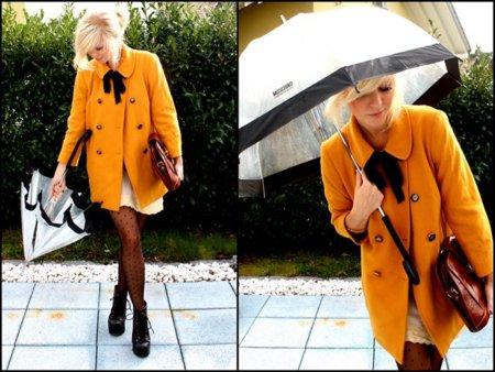 Vestido abrigo naranja universidad