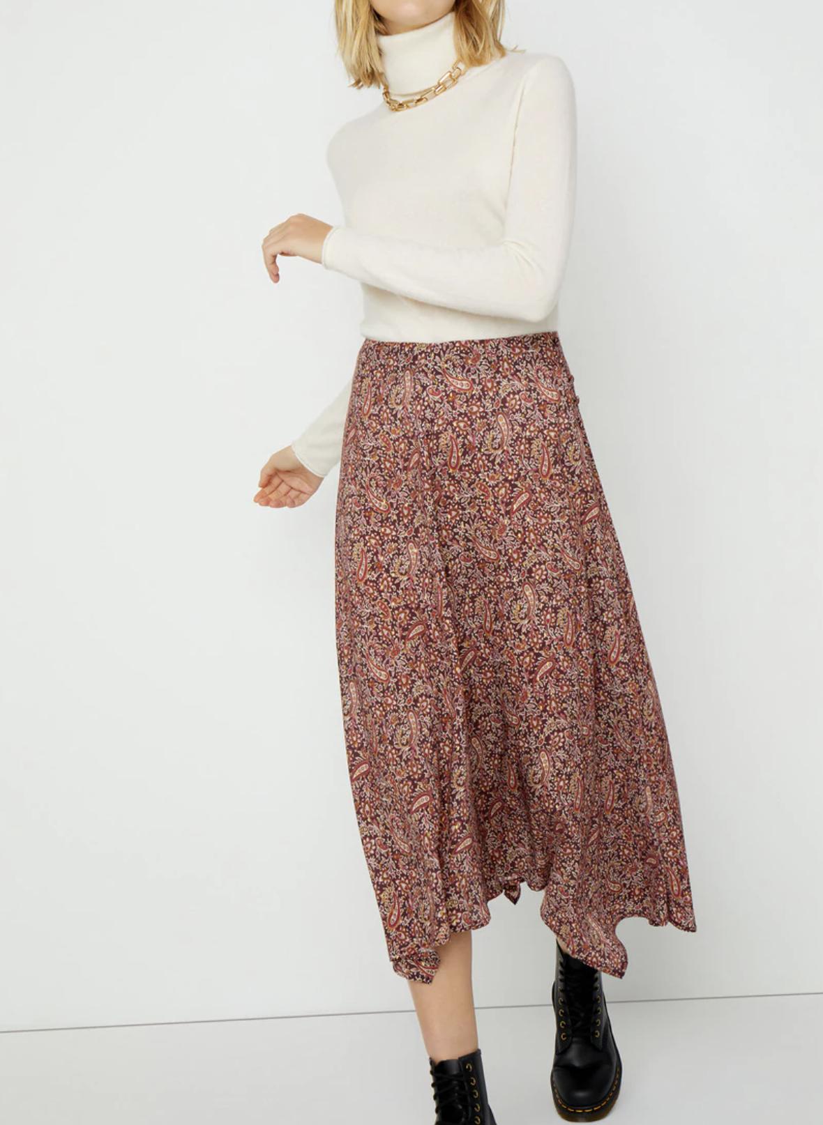 Falda midi paisley