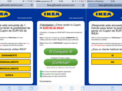 Cazadores de Fakes: no, el WhatsApp de Ikea con el cupón de 150€ no es real sino un timo