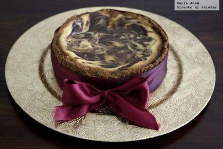 Tarta de queso con remolinos de chocolate. Receta para una ocasión especial