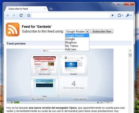 Google Chrome pronto tendrá soporte para feeds RSS