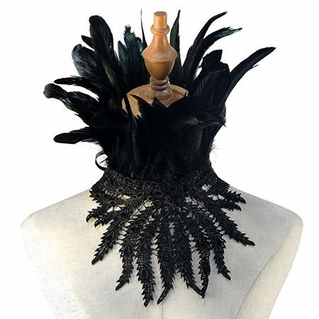 Homelex Gargantilla gótica victoriana encaje plumas naturales y mantón de cabo