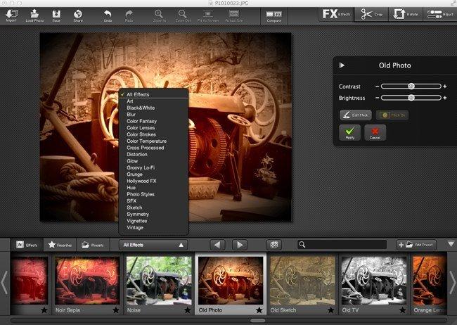 FX Photo Effects PRO, uno de los efectos y lista de categorías de efectos