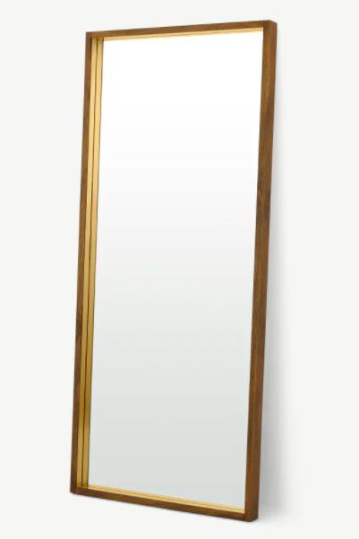 Espejo de cuerpo entero para apoyar en pared Emsworth, extra grande, 80 x 180 cm, madera de mango y latón