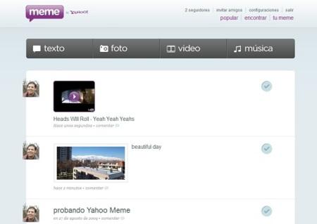 Primer vistazo a Yahoo Meme, es una triste imitación de Tumblr