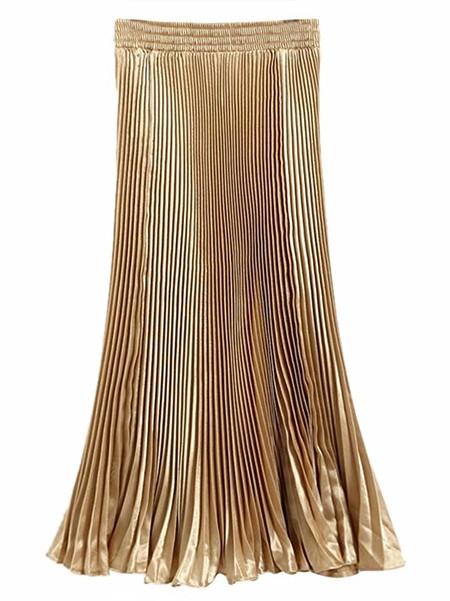 falda plisada color dorado
