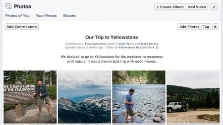 Facebook álbumes compartidos