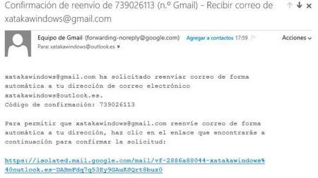 Click aceptación de reenvío gmail outlook.com