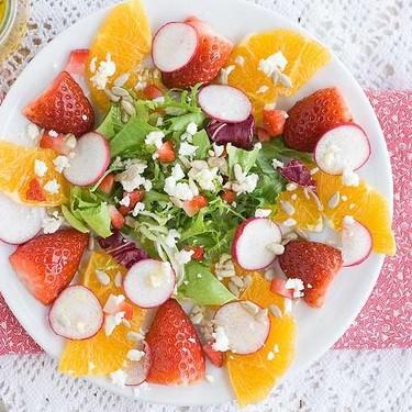 Ensalada de naranja y fresones, receta fácil y rápida