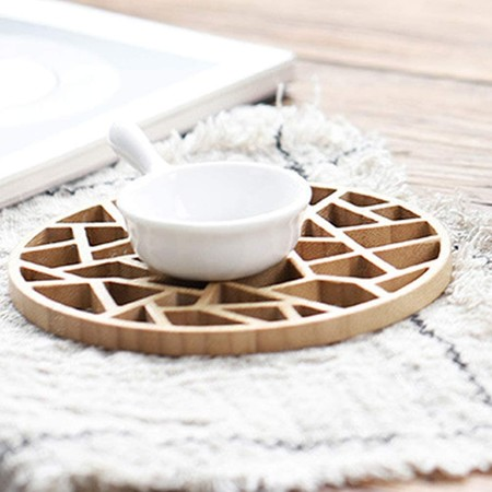 Hemoton 1 Pieza Retro Mantel Individual De Bambu Salvamanteles Redondos Para Cocina Oficina