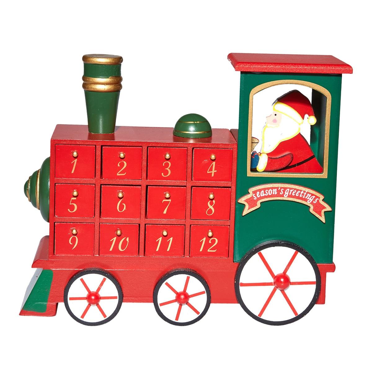 Calendario de adviento con forma de tren