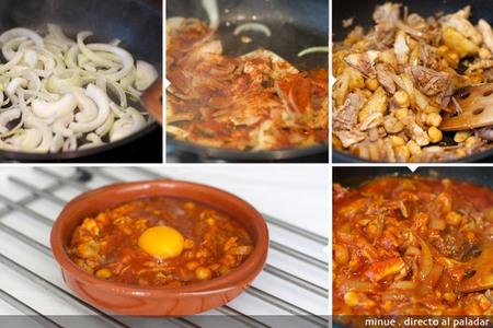 Huevos al plato con ropa vieja - elaboración