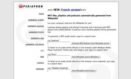 Pediaphon, los artículos de la Wikipedia convertidos en audio