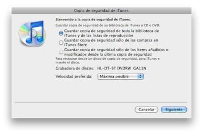 Cómo crear copias de seguridad de iTunes