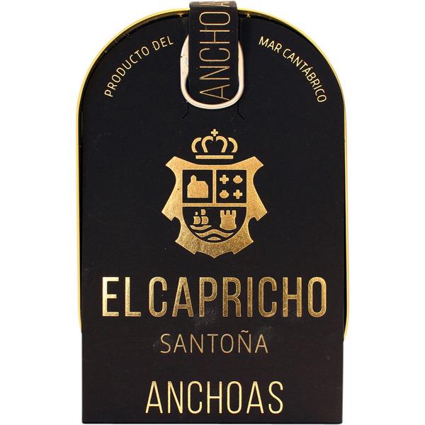 Filetes de anchoa Santoña en aceite de oliva virgen extra El Capricho, 14/16 piezas lata 58 g neto escurrido.