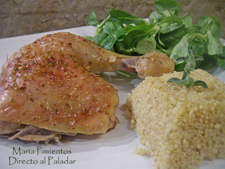 Pollo asado massala con quinoa. Receta