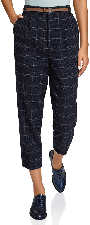 oodji Ultra Mujer Pantalones Ajustados con Pinzas