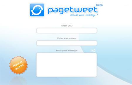 Pagetweet, comparte enlaces con mensajes.