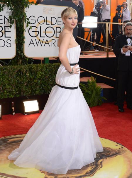 Blanco Jennifer Lawrence Globos de Oro 2014