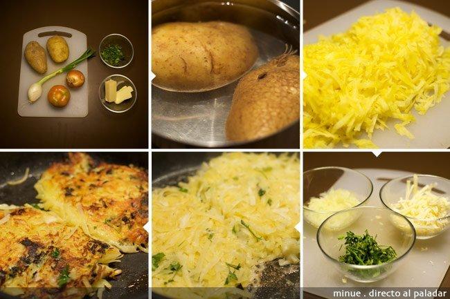 Rösti de patata y queso - elaboración