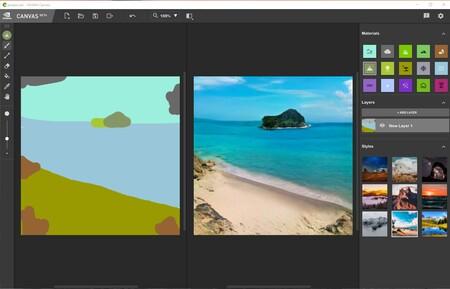 NVIDIA Canvas es la herramienta que usa inteligencia artificial para convertir cinco brochazos en un paisaje fotorrealista
