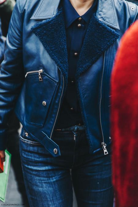 Pfw Paris Fashion Week Fall 2016 Street Style Collage Vintage Miu Miu Leather Jacket Navy Blue