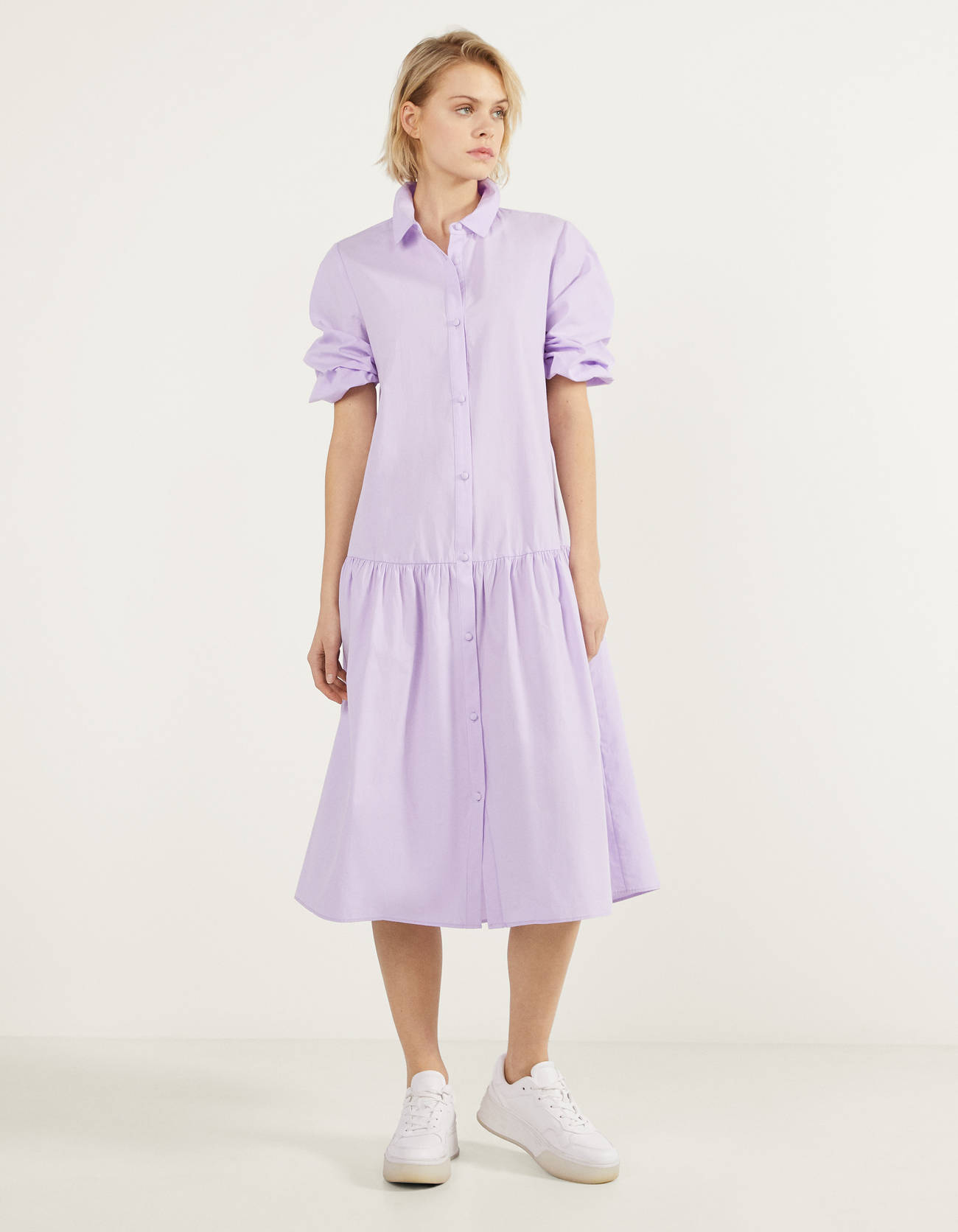 Vestido largo de popelín en lila