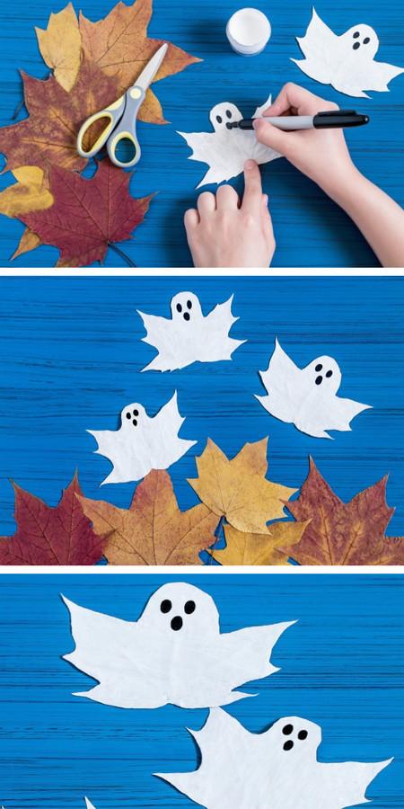 Manualidades Halloween Fantasmas Hojas