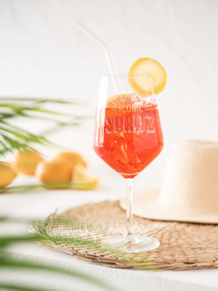 Copa De Spritz De Cristal Con Estampado Naranja