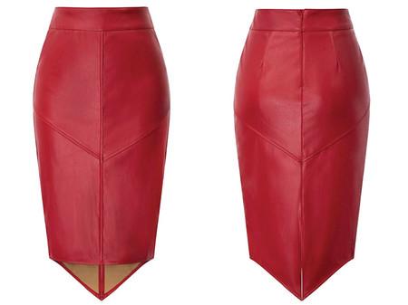 Grace Karin Falda Mujer Cintura Alta Falda Tubo Cuero Elegante Casual Color Solido