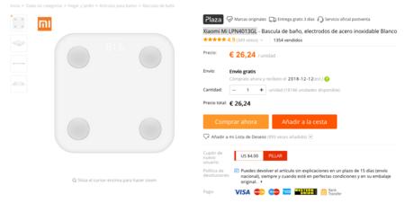 Báscula Xiaomi Mi Scale 2 desde España a precio de China..