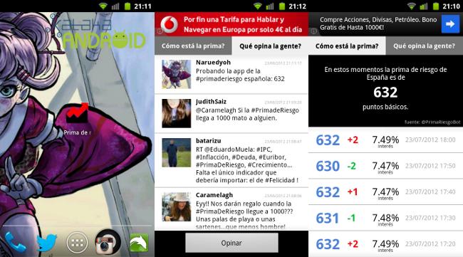 Prima de riesgo española Android