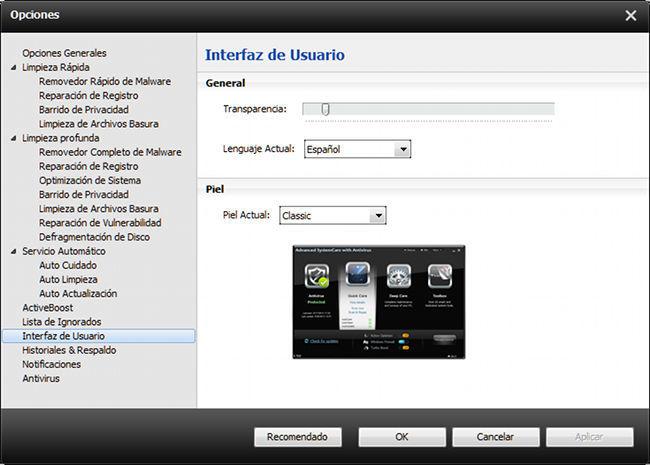 ASC, ajustes interfaz