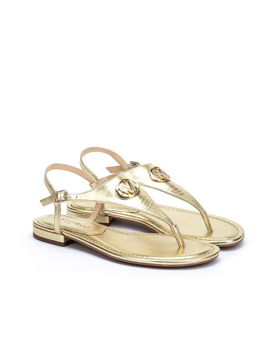 Sandalias planas de mujer Martinelli de piel con hebilla en color oro