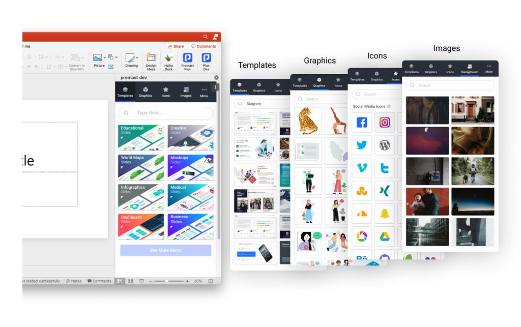 Con este plugin gratuito puedes integrar montones de plantillas, gráficos, iconos e imágenes directamente en PowerPoint