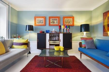 11 ideas para llenar de color tu casa con alfombras - Decoracion alfombras salon ...