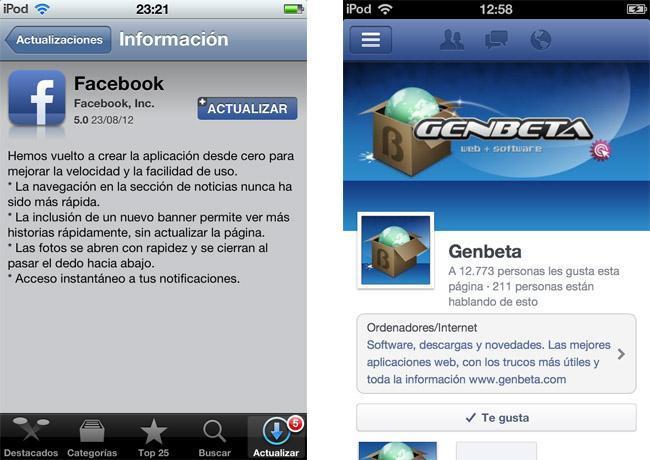 Facebook 5.0 para iOS