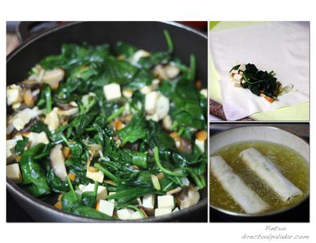 Rollitos de espinacas, tofu y shiitake. Pasos