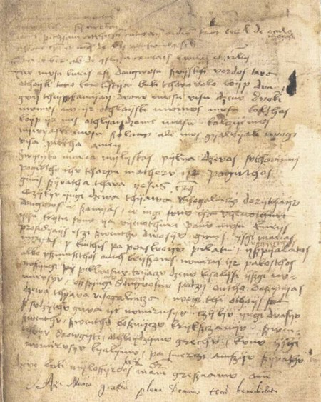 Oldest Surviving Writing In Lithuanian Language