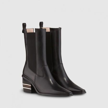 Botin Jimon California Negro Tacon Rayas Zapatos Mujer Online