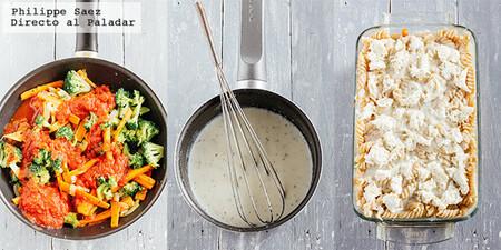 Pasta gratinada con verduras. Receta vegetariana fácil