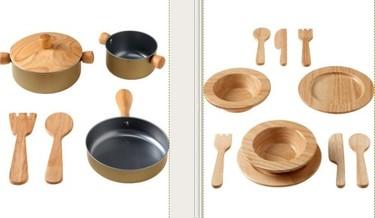 Juguetes de madera: vajilla y batería de cocina