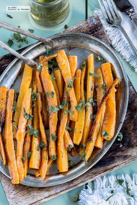 Zanahorias asadas a las finas hierbas. Receta fácil y saludable
