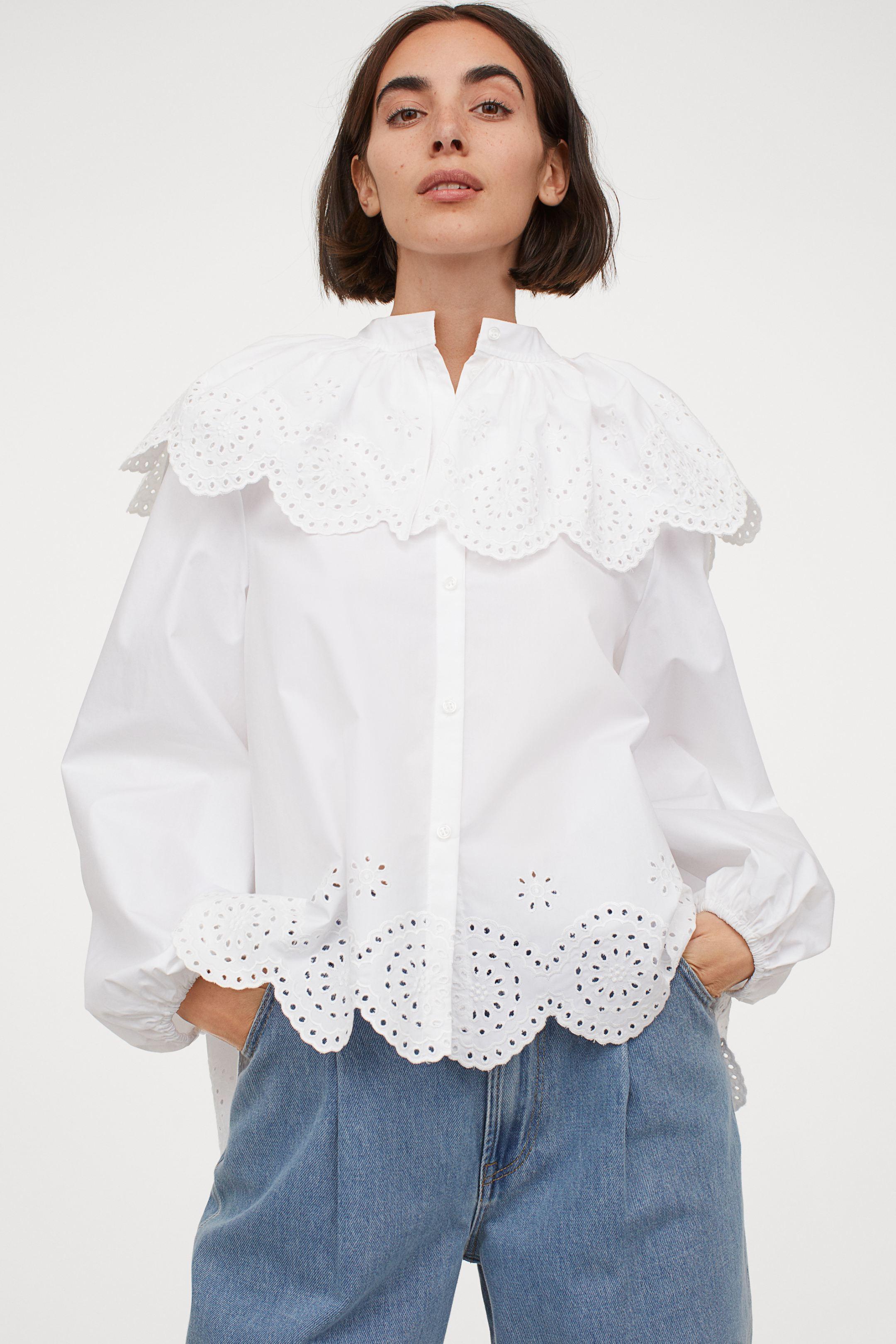 Camisa globo con detalles de bordado inglés