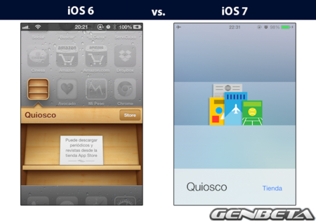 iOs 6 vs iOs 7 - quiosco