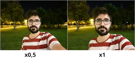 Muestra Modo Retrato Selfie Noche