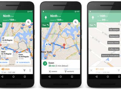 Google Maps Navigation te permitirá desviarte para ir a gasolineras, supermercados y cafeterías